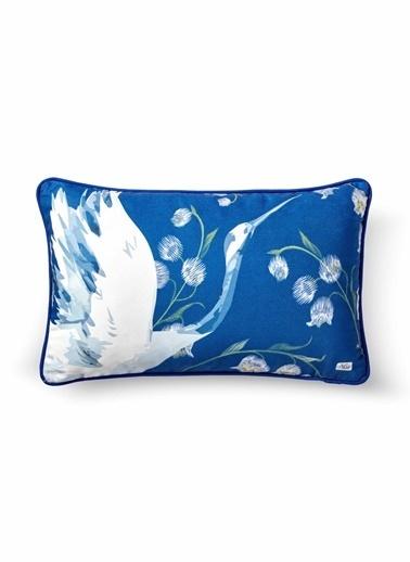 The Mia Leylek Yastık - Koyu Mavi 50 x 30cm Mavi